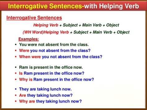 Pattern Of Interrogative Sentences | exle of verbs in sentence worksheets tataiza free