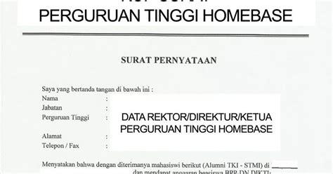 bppdn bppln bu contoh surat pernyataan rektor homebase