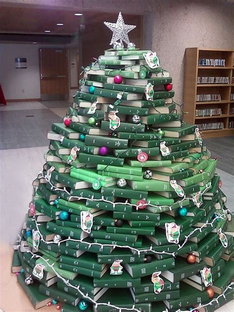 library christmas trees made of books and bound journals