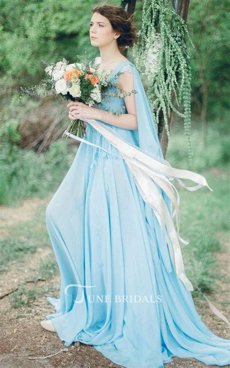 nontraditional bridesmaid chagne and blue serenity bohemian sky blue chiffon wedding or prom non