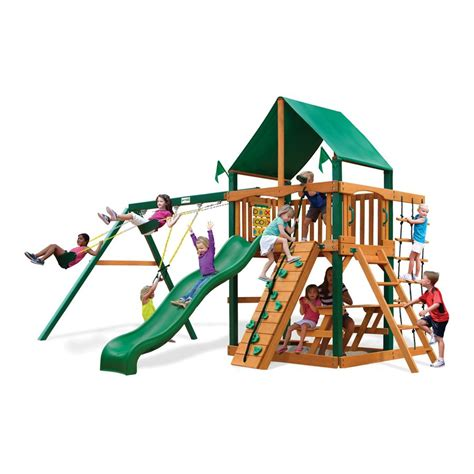 lowes swing sets installed shop gorilla playsets chateau ii residential wood playset