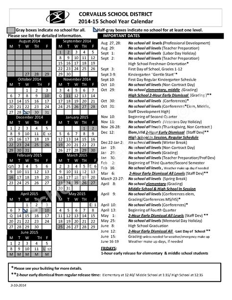 Corvallis School District Calendar 2014 2015 School Calendar Corvallis School District