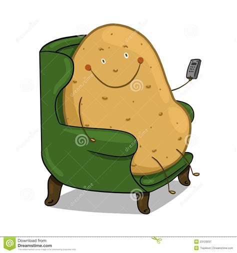 potato couching couch potato illustration royalty free stock photography