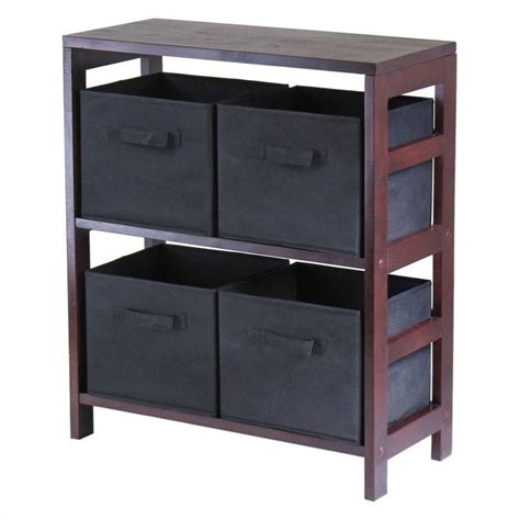 2 section storage shelf with 4 foldable black fabric