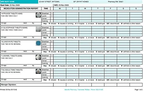 monthly medication administration record template printable medication administration record