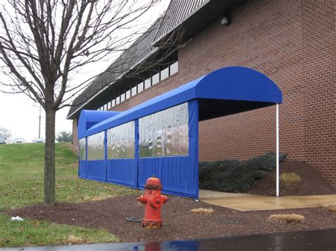 walkway awnings canopies drop curtains enclosures kreider s canvas service inc