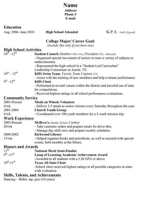 High School Student Resume For College Admission by College Resumes For High School Seniors Best Resume