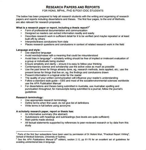 Outline The Layout Of Research Report | report outline template 10 free sle exle format