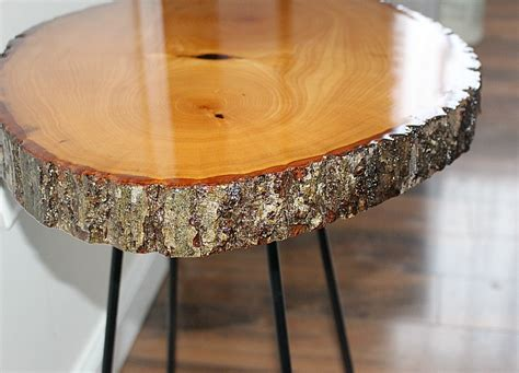wood slice side table diy resin wood slice side table our crafty