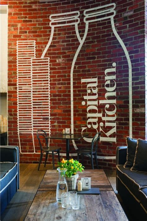 interior brick wall designs clean and modern cafe with home style design capital