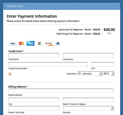 Credit Card Transaction Form Template Accept Credit Card Payments On Your Forms Using Stripe Html Form Builder Php Form
