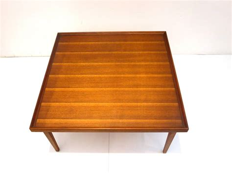 1950s american modern walnut square coffee table with