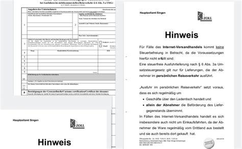 Schweiz Brief Zoll Keine Mehrwertsteuerr 252 Ckerstattung Im Onlinehandel St 246 Rt Nicht Freihandelsabkommen Ch D