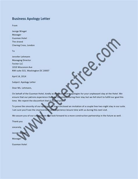 Business Apology Letter Subject 8 best sle apology letters images on