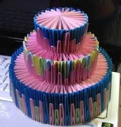 3d Origami Cake - 3d origami simple cake and papercraft paper origami