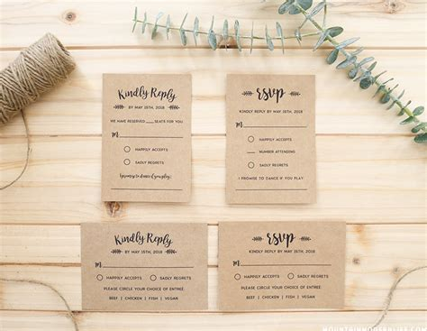 Rustic Rsvp Card Template Free by Whimsical Rustic Diy Wedding Invitation Set
