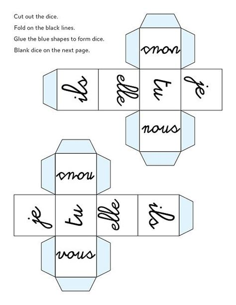 printable verb dice french pronouns dice can make into a verb conjugation