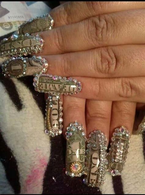 imagenes de uñas de acrilico de kitty u 241 as de acr 237 lico decoradas con dolar y piedra de cristal