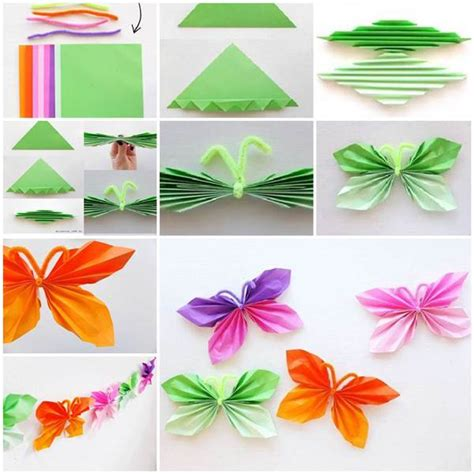 Butterfly Paper Folding - easy folded diy paper butterfly beesdiy