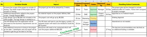 decision card template decision log excel template free project