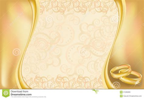 Wedding Invitation Card With Golden Rings And Flor Stock