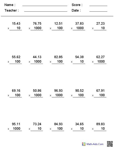 Powers Of Ten Worksheets 5th Grade by 1000 Ideas About Multiplying Decimals On