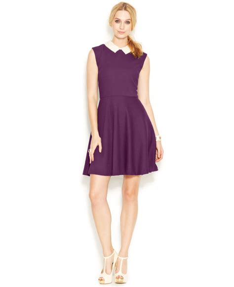 Baju Anjing Dress Collar Pearl Purple lyst betsey johnson cap sleeve pearl collar dress in purple