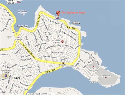 printable road map of malta karten f 252 r the diplomat hotel