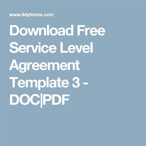 service level agreement template free free service level agreement template 3 doc pdf