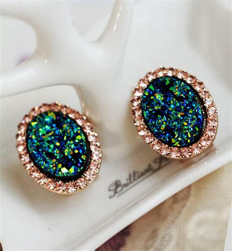 Geometry Ear Stud pair bohemia style gold alloy rhinestone drop