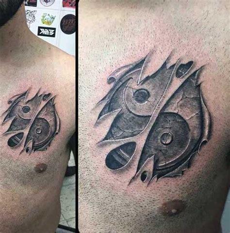 3d tattoo zahnräder 3d sehr realistisches yin yang symbol unter der haut