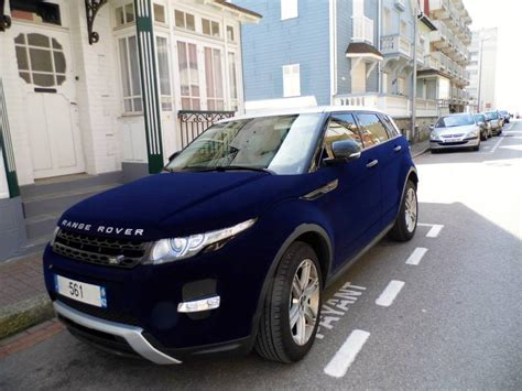 range rover dark blue range rover evoque ruined with blue velvet wrap in france