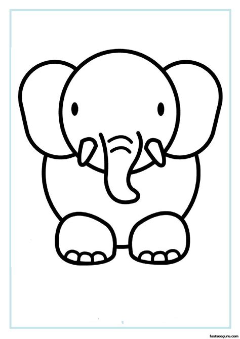Print out animal elephant coloring pages - Printable ...