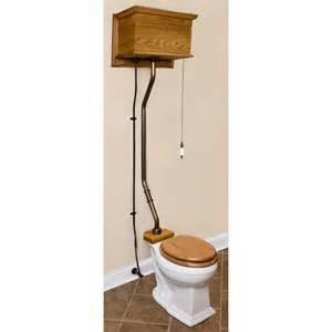 oak high tank pull chain water closet chrome trim ebay