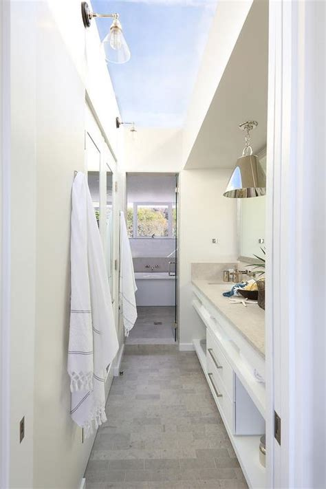 galley bathroom ideas galley style bathroom with glass ceiling cottage bathroom