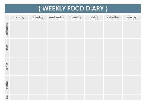 food tracker template weekly food journal new calendar template site