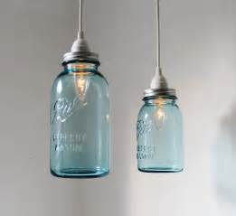 Jar Pendant Light Sea Glass Jar Pendant Lights Set Of 2 Hanging By Bootsngus