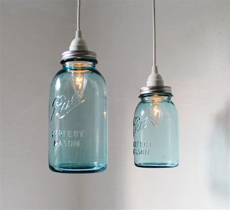 Sea Glass Mason Jar Pendant Lights Set Of 2 Hanging Antique Light Jars