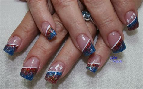 red acrylic 4th of july nils 4th of july independence day nail design nail art design