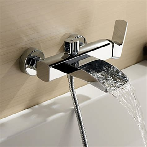 Chrome Finish Single Handle Wall Mount Waterfall Bathtub Faucet Hand Shower Not
