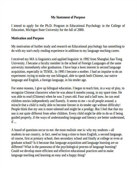 sle of statement purpose for phd application cover