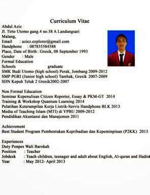 format cv beasiswa contoh cv curriculum citae resume yang baik dan benar