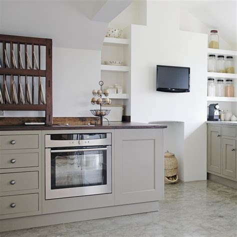 trending white kitchen cabinets with grey walls