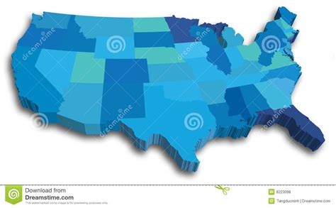 us map blue blue us 3d state map royalty free stock photos image