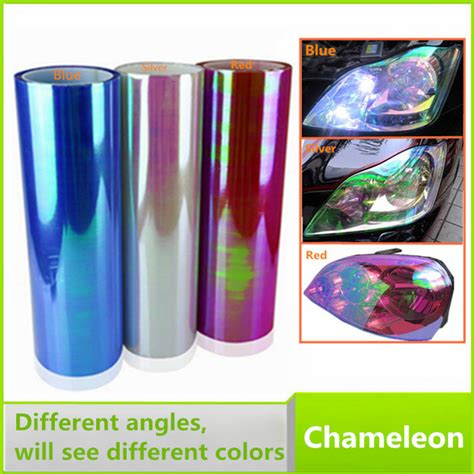 Promo Heboh Sticker Headlight Taillight Chameleon Vinyl Tint Purp 12 quot x40 quot chameleon color changing tint vinyl wrap car light sticker car headlight taillights