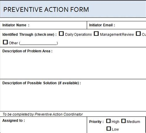 project preventive action form 187 template haven