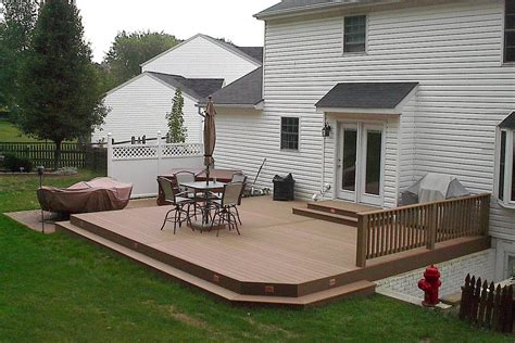 Backyard Deck Ideas Ground Level Ground Level Composite Deck Cedarbrook Outdoor Design