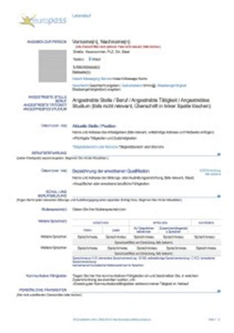 Lebenslauf Computerkenntnisse Beispiele Europass Lebenslauf Franz 246 Sisch Muster Lebenslauf