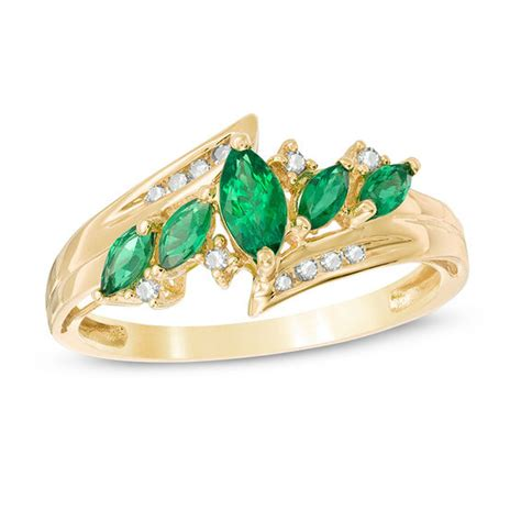 marquise lab created emerald and 1 10 ct t w