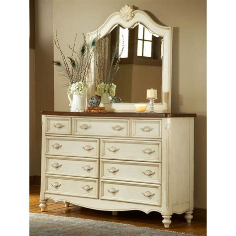 Antique White Dresser Bedroom Furniture Chateau Antique White Dresser And Mirror Set Dcg Stores